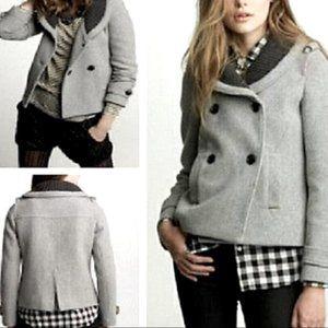 J.Crew Stadium Cloth Wool Sasha Pea Coat Gray